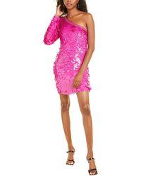 Dundas One-shoulder Sequin Silk Mini Dress - Pink