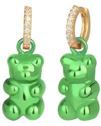 Gabi Rielle Love Is Declared 14k Over Silver Crystal Bear Huggie Earrings - Green