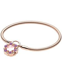 PANDORA Charm Carrier Rose Padlock Heraldic Radiance Bracelet - Multicolour
