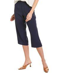 Eileen Fisher Petite Straight Crop Silk Pant - Blue