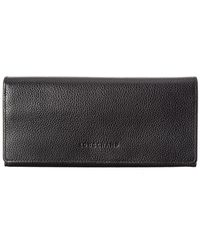 Longchamp Le Foulonne Leather Continental Wallet - Black