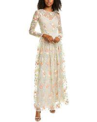 ML Monique Lhuillier Floral Mesh Gown - White