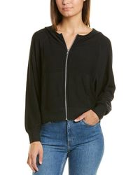 Chaser Cosy Knit Batwing Zip-up Hoodie - Black