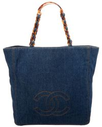 Chanel - Blue Denim Large Bekko Chain Cc Tote - Lyst