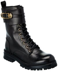 Versace Safety Pin Leather Boot - Black