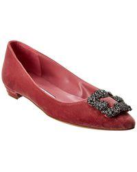 Manolo Blahnik Hangisi Velvet Ballerina Flat - Pink