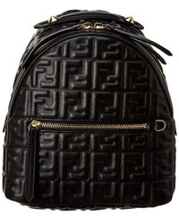Fendi Ff Mini Leather Backpack - Black