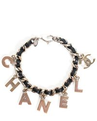 Chanel Silver-tone Leather Dangle Bracelet - Metallic