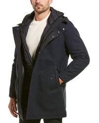 Cole Haan Bonded Tweed Coat - Blue