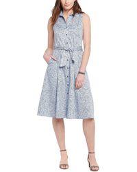 NIC+ZOE Petite Naples Shirt Dress - Blue