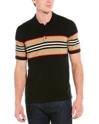 Burberry Icon Stripe Detail Wool-blend Polo Shirt - Black