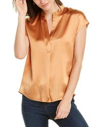 Vince Shirred Silk Blouse - Orange