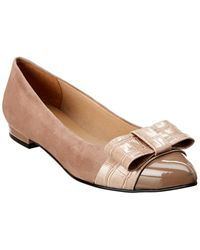 French Sole Adele Suede & Croc-embossed Flat - Grey