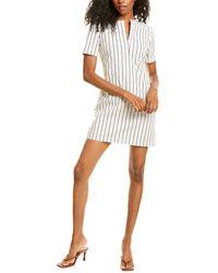 Theory Striped Linen-blend Shift Dress - White