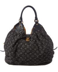 Louis Vuitton Xl Denim Fabric Hobo Bag - Black