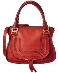 Chloé Marcie Medium Leather Satchel - Red