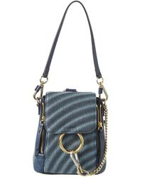 Chloé Faye Small Leather Backpack - Blue