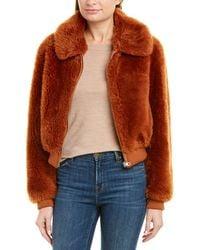 Yves Salomon Leather-trim Wool Coat - Red