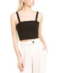 French Connection Whisper Straight Neck Top - Black
