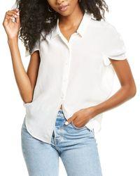 Habitual Lennon Petal Sleeve Silk Top - White