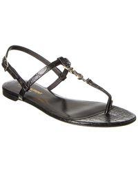 Saint Laurent Cassandra Croc-embossed Leather Sandal - Multicolour