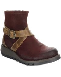 Fly london Ygot Camel Leather Womens Wedge Ankle Boots