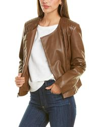 Cole Haan Asymmetrical Linen-lined Leather Jacket - Brown