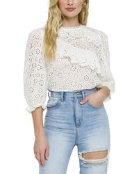 English Factory Elbow-sleeve Top - White