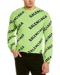 Balenciaga All Over Logo Wool-blend Jumper - Green