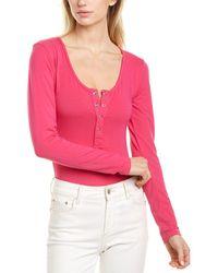 Bobi Henley Bodysuit - Pink
