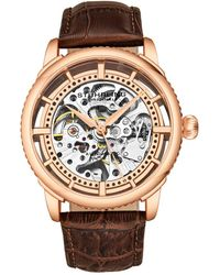 Stuhrling Original Men's Leather Watch - Metallic