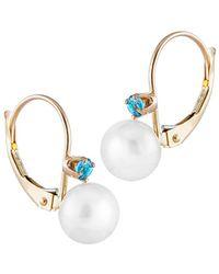Splendid 14k 0.10 Ct. Tw. Swiss Blue Topaz & 7-7.5mm Pearl Earrings