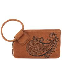 Hobo Sable Leather Wristlet Clutch - Brown