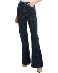 Nicole Miller Printed Denim Bell Bottom Pant - Blue