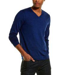 RAFFI Merino Wool V-neck Jumper - Blue
