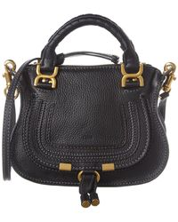 Chloé Marcie Mini Leather Satchel - Black