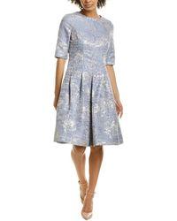 Teri Jon Jacquard A-line Dress - Grey