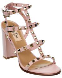 Valentino Valentino Garavani Rockstud Caged 90 Leather Ankle Strap Sandal - Pink