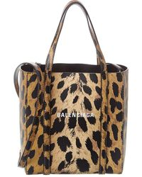 Balenciaga Everyday Xxs Leopard Print Leather Tote - Brown