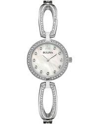 Bulova Swarovski Crystal And Stainless Steel Bangel Watch, 96l223 - Metallic