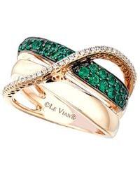 Le Vian 14k Rose Gold 0.48 Ct. Tw. Diamond & Costa Smeralda Emerald Ring - Metallic