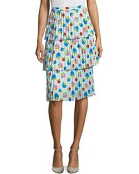 Manoush Tiered Floral Skirt - Blue