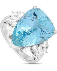 Mikimoto Mikimoto Platinum 10.06 Ct. Tw. Diamond & Aquamarine Ring - Blue