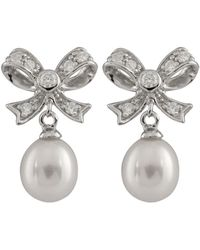 Splendid Plated 4-9mm Freshwater Pearl Bow Shaped Drop Earrings - Metallic