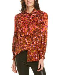 Anna Sui Begonia Blend Silk-trim Top - Brown