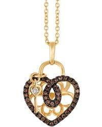 Le Vian Diamond Heart & Key Pendant Necklace (1/4 Ct. T.w.) In 14k Gold - Metallic
