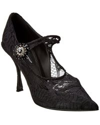 Dolce & Gabbana Mary Jane Lace & Leather Pump - Black