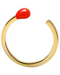 Gabi Rielle Gold Over Silver Red French Enamel Match Stick Ring - Metallic