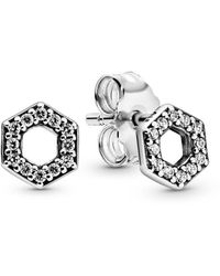 PANDORA Silver Cz Sparkling Honeycomb Hexagon Stud Earrings - Metallic