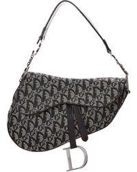 Dior Oblique Saddle Canvas Shoulder Bag - Black